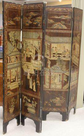 VINTAGE CHINESE (5) PANEL DRESSING SCREEN, 1900'S