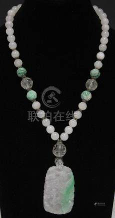 CHINESE JADE BEADED NECKLACE W/ CARVED PENDANT