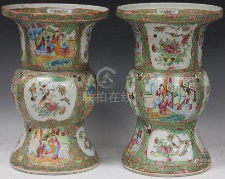 PAIR OF CHINESE ROSE MEDALLION PORCELAIN VASES