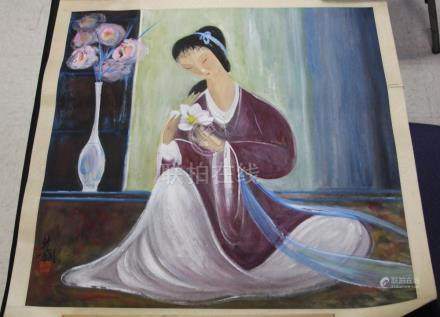 CHINESE WATERCOLOR PAINTING OF A WOMAN W/ FLOWERS