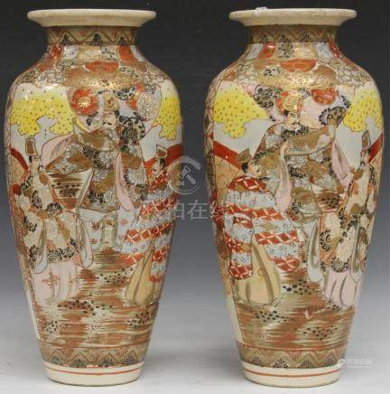 "PAIR OF JAPANESE SATSUMA PAINTED VASES, 17 1/2"" H"
