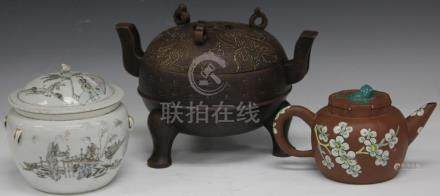 LOT OF (3) CHINESE POTTERY, CENSER