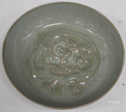 "CHINESE CELADON SCULPTED BOWL, 7 3/4"" D"
