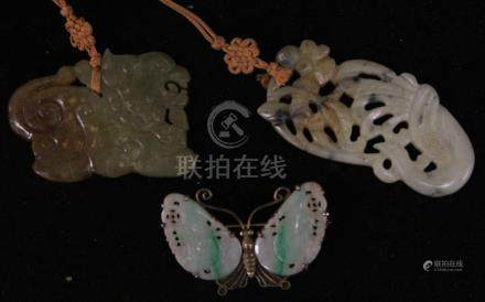 LOT OF (3) CHINESE CARVED JADE PIN & PENDANTS