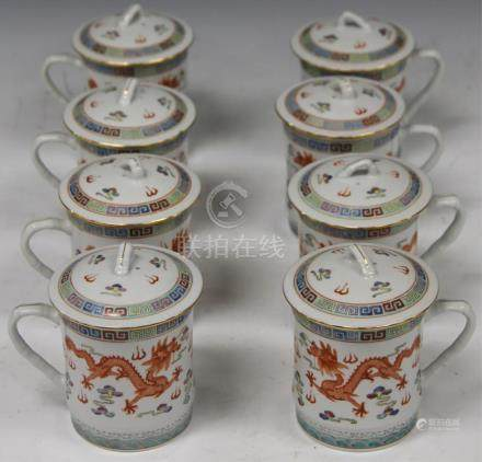 "SET OF (8) PAINTED CHINESE TEA CUPS, 4"" H"