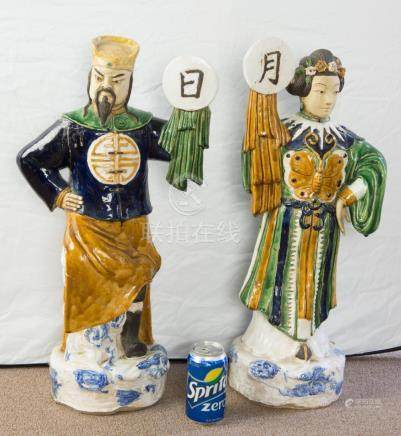Chinese Qing Man & Woman Large Porcelain Statues