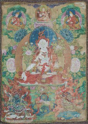Chinese Thangka 19th Century with Sanskrit writing back
