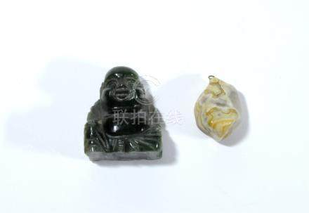 A Chinese deep green nephrite figure of Hotei