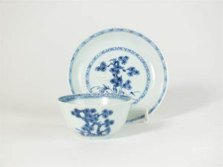 A Chinese Nanking Cargo blue and white porcelain tea bowl and saucer