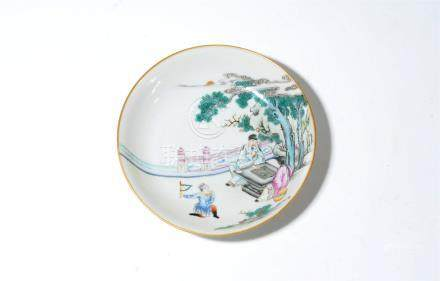 A Chinese famille rose porcelain 'King Anxi of Wei' saucer