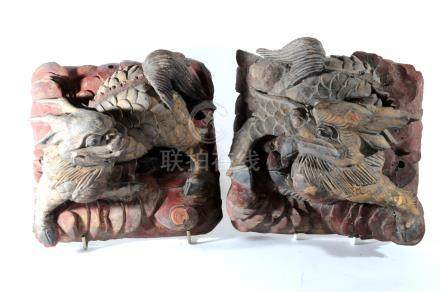 A pair of Chinese carved and painted wood kylin