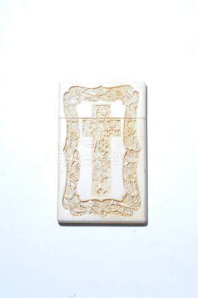 A Canton carved ivory visiting card case