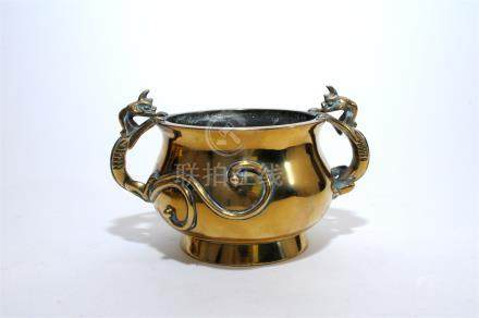 A Chinese cast brass censer, Qing dynasty