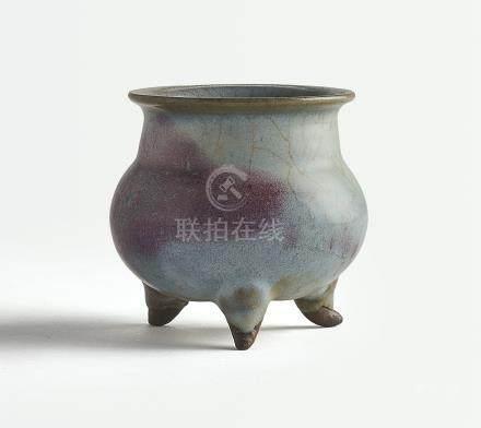 宋/金   鈞窰天藍釉紫斑三足爐