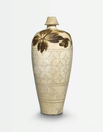 北宋   磁州窰劃花褐彩花卉紋梅瓶