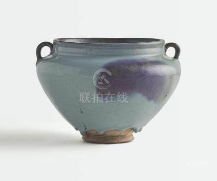 元   鈞窰天藍釉玫瑰紫斑雙繫罐