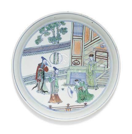 清康熙   鬪彩西廂記圖盤一組兩件
