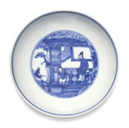 清雍正   青花仕女嬰戲圖小盤 《大清雍正年製》款
