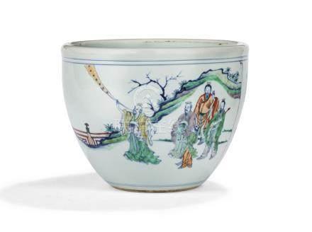 清十八世紀   闘彩神仙圖缸