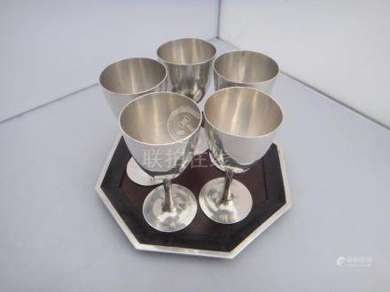 5 Chinese Export Silver Cups on Tray with Marks