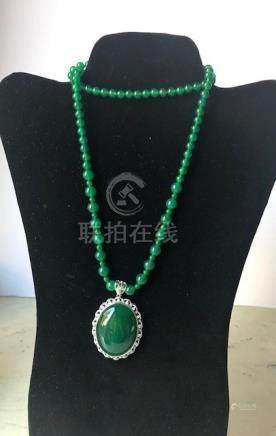Burmese Jade Beads Necklace and Pendant