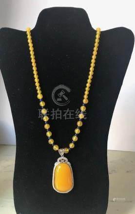 Yellow Burmese Jade Beads Necklace and Pendant