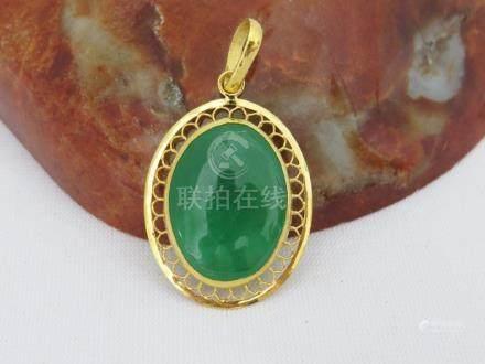 Vintage 24K Solid Gold Green Jadeite Pendant