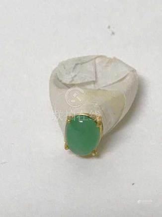 Certified Natural Jadeite Egg Shaped Ring