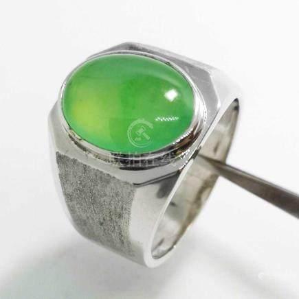 A Very Fine Highly Translucent Burmese Jadeite Ring