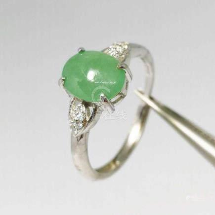 A Highly Translucent Burmese Natural Jadeite Ring