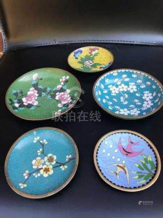 Five Chinese Small Antique Cloisonne Plates