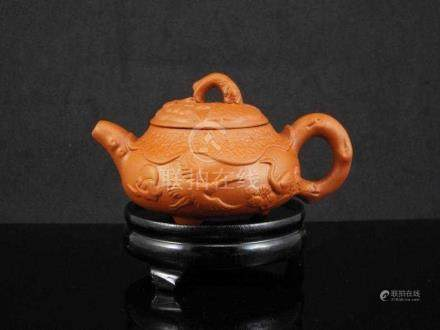Chinese Yixing teapot with Flower and Bird Design