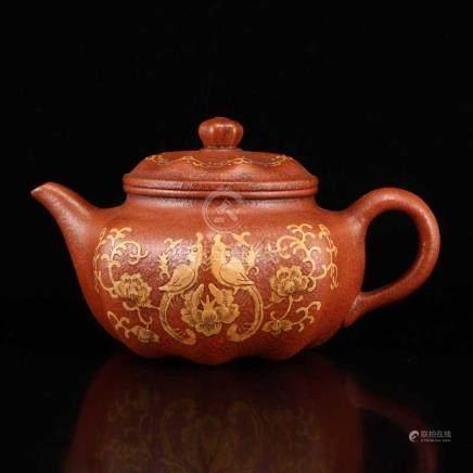 Chinese Yixing Zisha Clay Phoenix & Peony Teapot