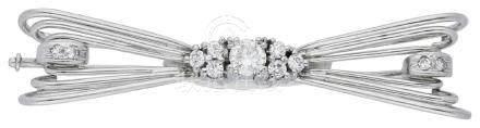 Diamant Brosche, dekorativ, in Weissgold 14K, ...