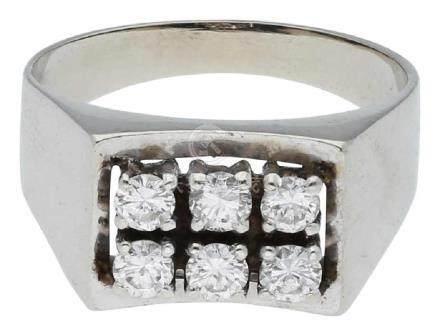 Diamantring, klassisches Design, in Weissgold ...