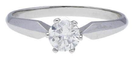 Solitär Ring, klassisch, in Weissgold 14K, ...