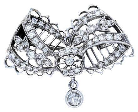 Diamant Brosche, zauberhaftes Modell, in ...