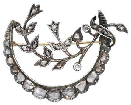 Diamant Brosche, antikes Schmuckstück, in Silber ...