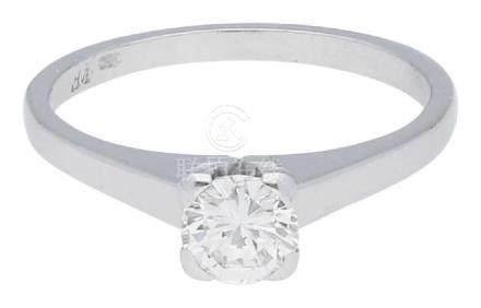 Solitär Ring, stilvoll, in Weissgold 18K, 1 ...