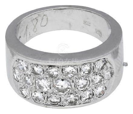 Diamant Ring, sehr dekorativ, in Weissgold 14K, ...