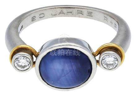 Sternsaphir Brillantring, edles Design, signiert ...