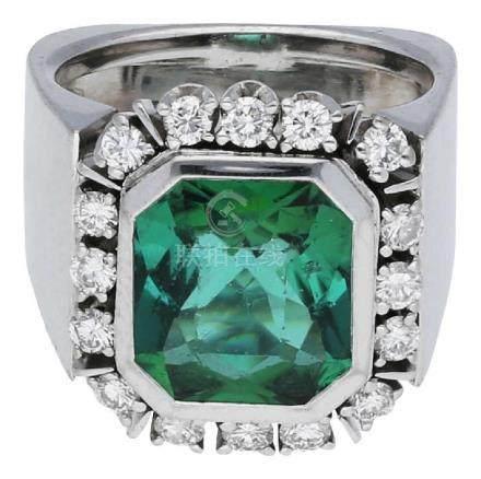 Turmalin Diamant Ring, signiert Paul Binder, ...