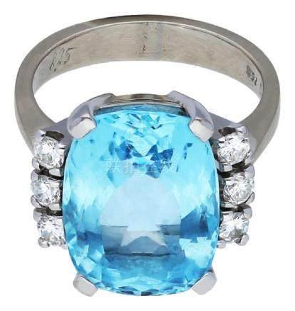 Aquamarin Diamant Ring, stilvoll, in Weissgold ...