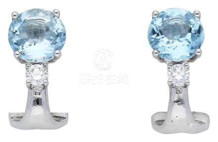 Aquamarin Diamant Ohrclips, attraktives Paar, in ...