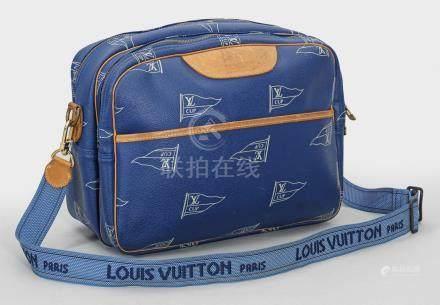 "Limitierte Louis Vuitton ""Americas Cup""-Schultertasche sog. Messenger-Bag. Blau"