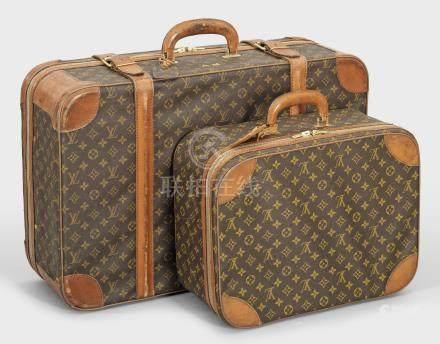 Vintage Kofferset von Louis Vuitton 2-tlg.; Reisekoffer und kleiner Handkoffer.