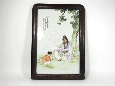 Porcelain Plaque Signed Wang Qi.