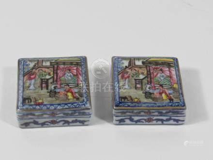 Pair of Square Porcelain Paste Boxes.