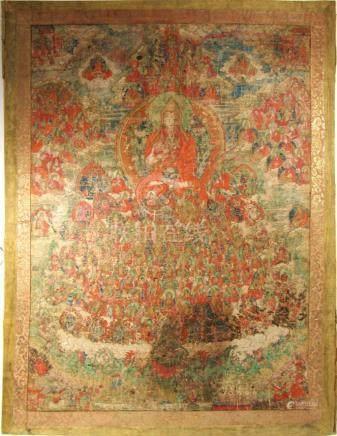 Large Sino-Tibetan Thangka of a Lama.