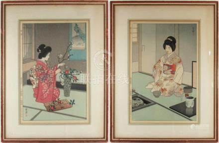 KASAMATSU, SHIRO. Pair of Japanese Woodblocks.
